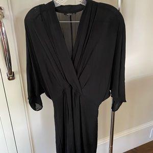 Black silk long sleeve dress